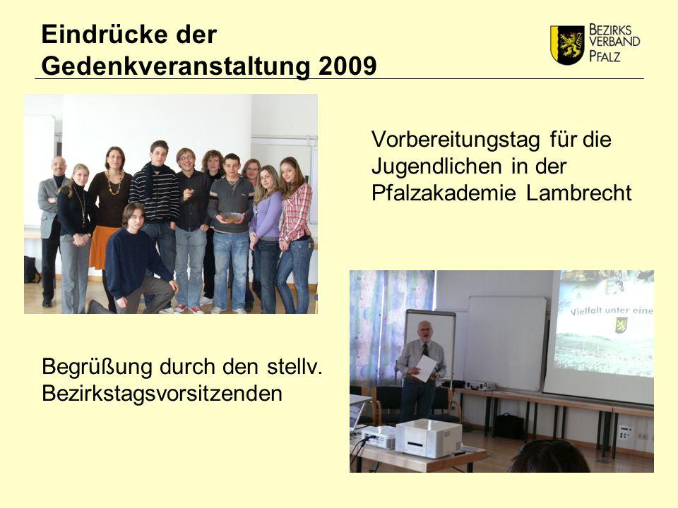 Eindrücke der Gedenkveranstaltung 2009 Begrüßung durch den stellv.