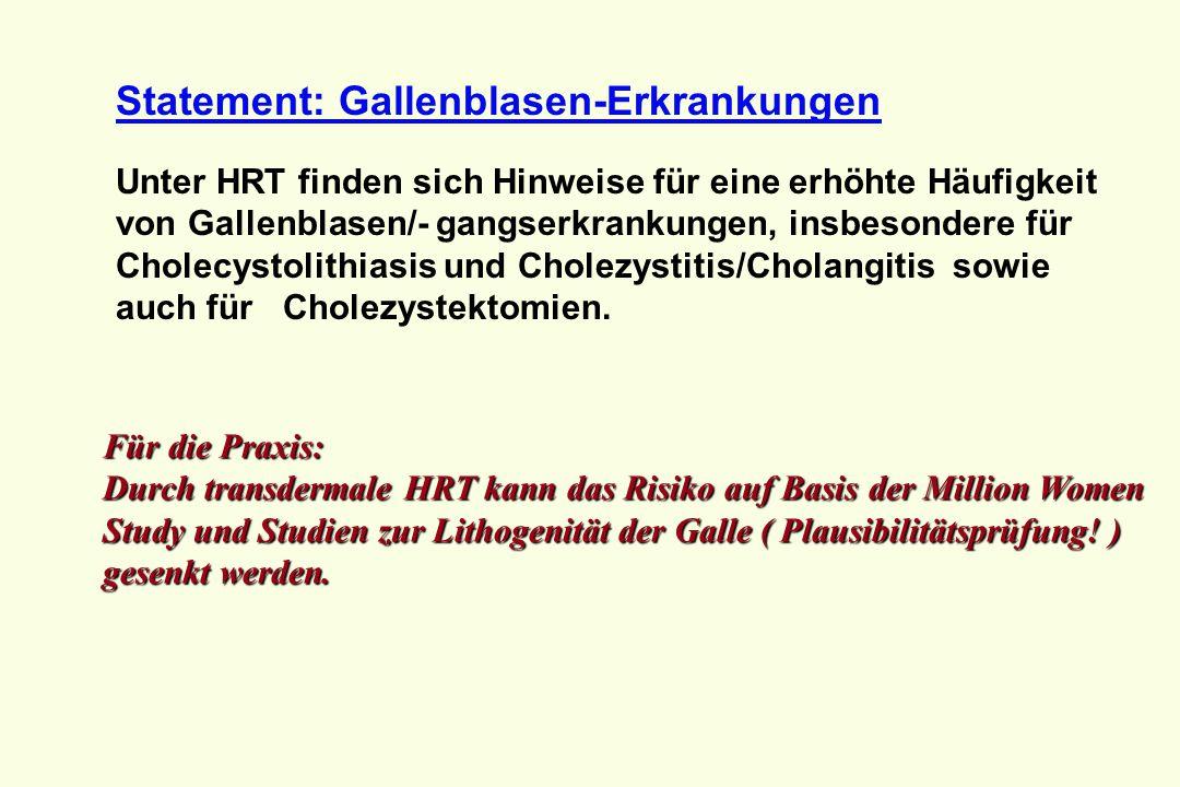 Statement: Gallenblasen-Erkrankungen Unter HRT finden sich Hinweise für eine erhöhte Häufigkeit von Gallenblasen/- gangserkrankungen, insbesondere für