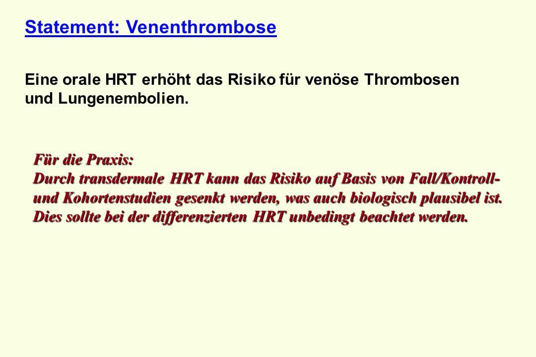 Statement: Venenthrombose Eine orale HRT erhöht das Risiko für venöse Thrombosen und Lungenembolien. Für die Praxis: Durch transdermale HRT kann das R