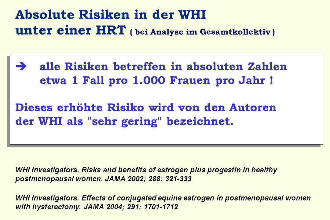 Absolute Risiken in der WHI unter einer HRT ( bei Analyse im Gesamtkollektiv )  alle Risiken betreffen in absoluten Zahlen etwa 1 Fall pro 1.000 Frau
