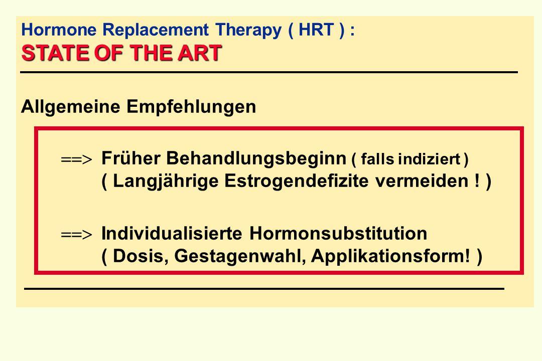 STATE OF THE ART Hormone Replacement Therapy ( HRT ) : STATE OF THE ART Allgemeine Empfehlungen  Früher Behandlungsbeginn ( falls indiziert ) ( Lan