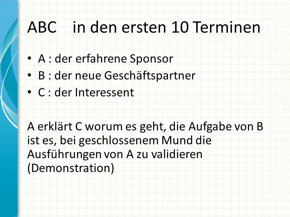 ABC in den ersten 10 Terminen A : der erfahrene Sponsor B : der neue Geschäftspartner C : der Interessent A erklärt C worum es geht, die Aufgabe von B