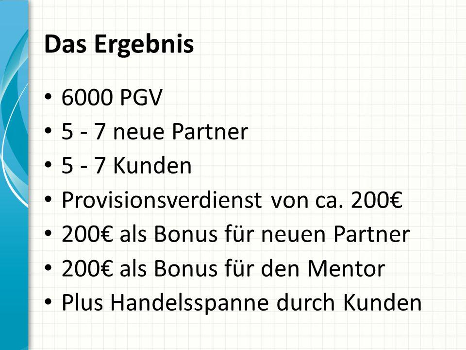 Das Ergebnis 6000 PGV 5 - 7 neue Partner 5 - 7 Kunden Provisionsverdienst von ca. 200€ 200€ als Bonus für neuen Partner 200€ als Bonus für den Mentor