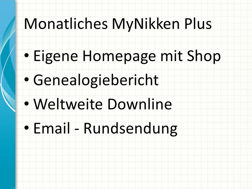 Monatliches MyNikken Plus Eigene Homepage mit Shop Genealogiebericht Weltweite Downline Email - Rundsendung