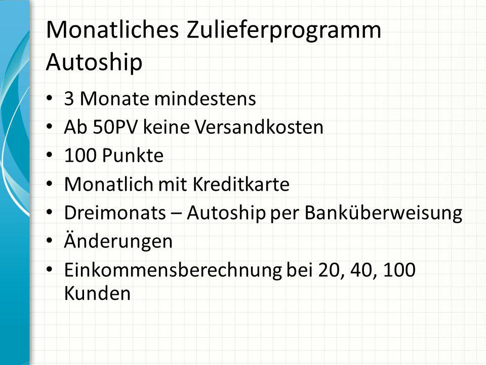 Monatliches Zulieferprogramm Autoship 3 Monate mindestens Ab 50PV keine Versandkosten 100 Punkte Monatlich mit Kreditkarte Dreimonats – Autoship per B