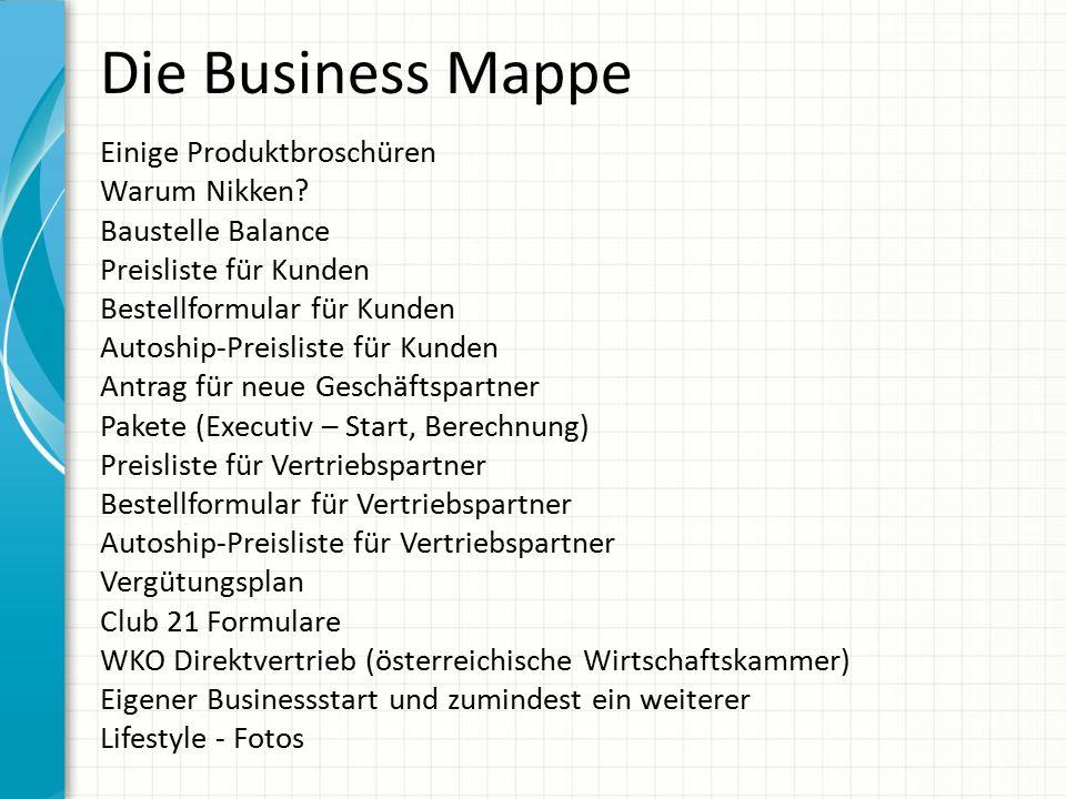 Die Business Mappe Einige Produktbroschüren Warum Nikken? Baustelle Balance Preisliste für Kunden Bestellformular für Kunden Autoship-Preisliste für K