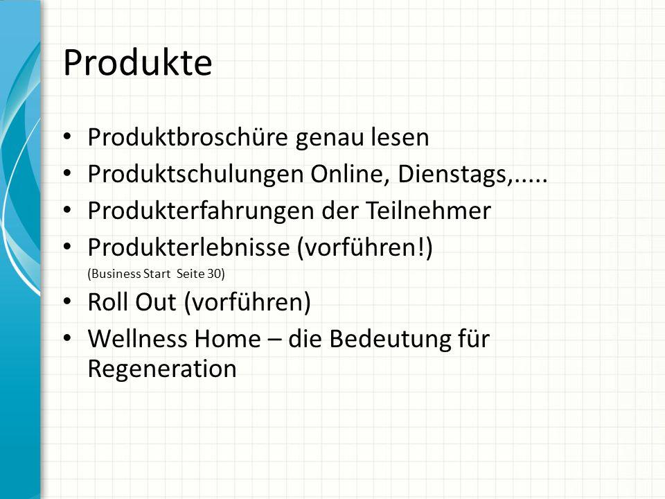 Produkte Produktbroschüre genau lesen Produktschulungen Online, Dienstags,..... Produkterfahrungen der Teilnehmer Produkterlebnisse (vorführen!) (Busi