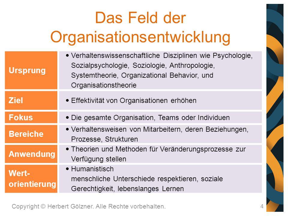Das Feld der Organisationsentwicklung Copyright © Herbert Gölzner. Alle Rechte vorbehalten. 4 Ursprung  Verhaltenswissenschaftliche Disziplinen wie P