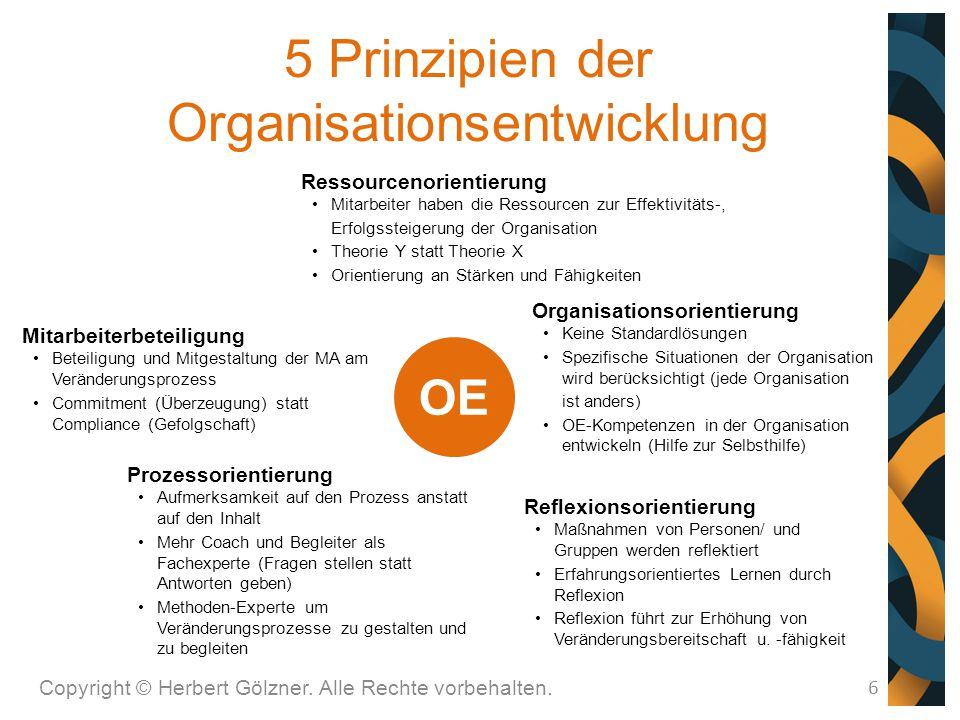 Copyright © Herbert Gölzner. Alle Rechte vorbehalten. 6 5 Prinzipien der Organisationsentwicklung Mitarbeiterbeteiligung Beteiligung und Mitgestaltung