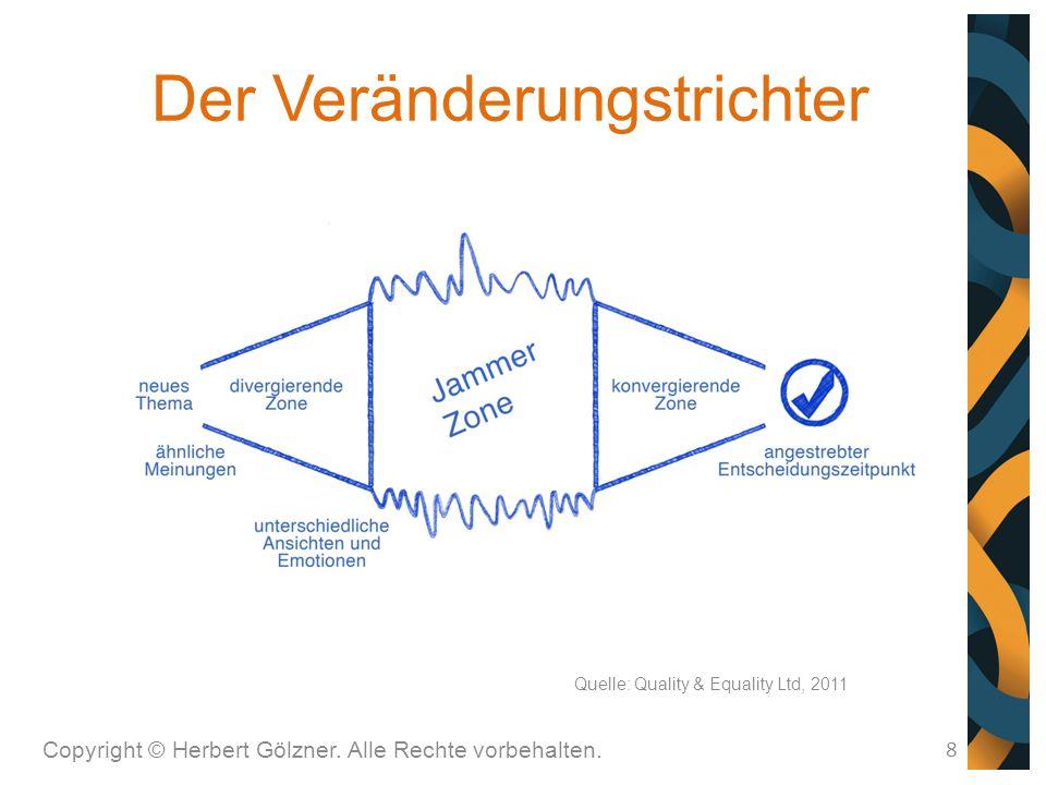 Der Veränderungstrichter Copyright © Herbert Gölzner. Alle Rechte vorbehalten. 8 Quelle: Quality & Equality Ltd, 2011