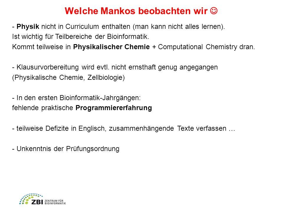 Welche Mankos beobachten wir - Physik nicht in Curriculum enthalten (man kann nicht alles lernen).