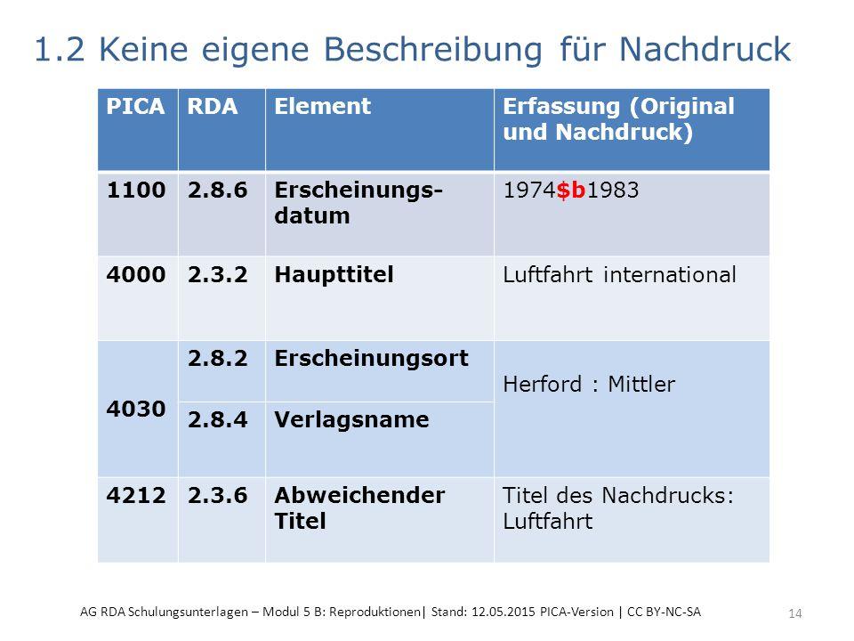 1.2 Keine eigene Beschreibung für Nachdruck 14 PICARDAElementErfassung (Original und Nachdruck) 11002.8.6Erscheinungs- datum 1974$b1983 40002.3.2HaupttitelLuftfahrt international 4030 2.8.2Erscheinungsort Herford : Mittler 2.8.4Verlagsname 42122.3.6Abweichender Titel Titel des Nachdrucks: Luftfahrt AG RDA Schulungsunterlagen – Modul 5 B: Reproduktionen| Stand: 12.05.2015 PICA-Version | CC BY-NC-SA