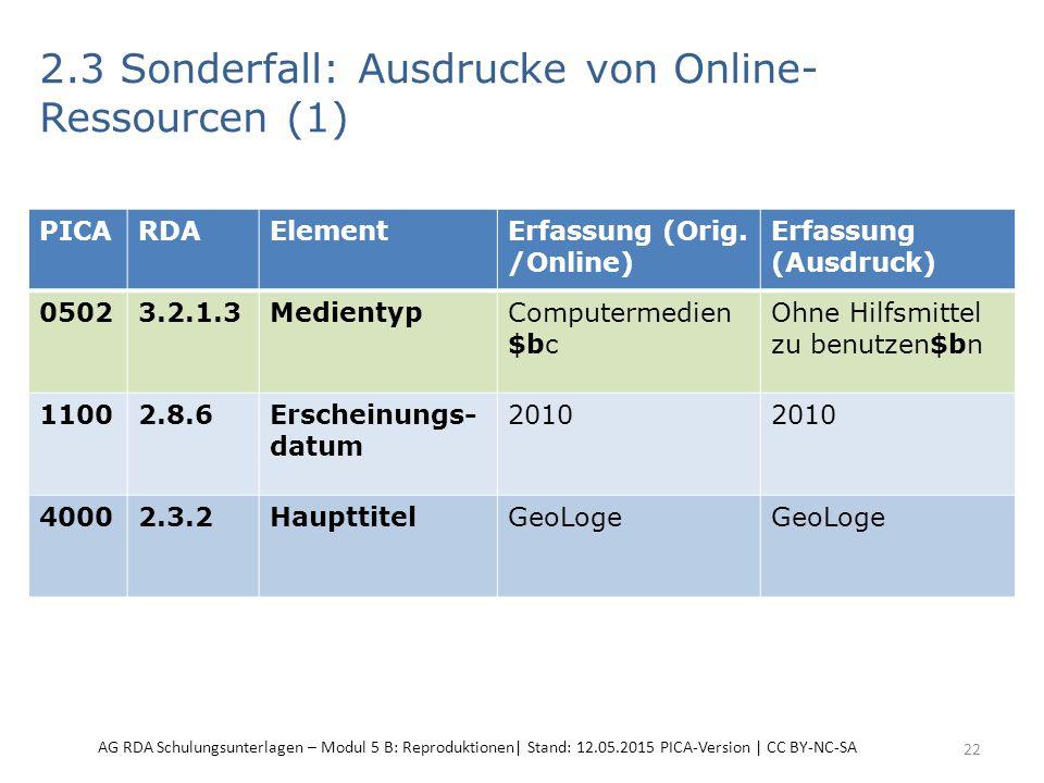 2.3 Sonderfall: Ausdrucke von Online- Ressourcen (1) 22 PICARDAElementErfassung (Orig. /Online) Erfassung (Ausdruck) 05023.2.1.3MedientypComputermedie