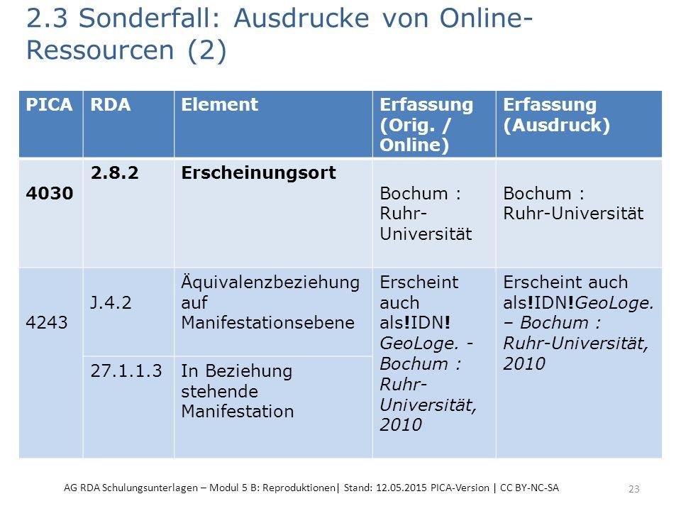 2.3 Sonderfall: Ausdrucke von Online- Ressourcen (2) 23 PICARDAElementErfassung (Orig. / Online) Erfassung (Ausdruck) 4030 2.8.2Erscheinungsort Bochum