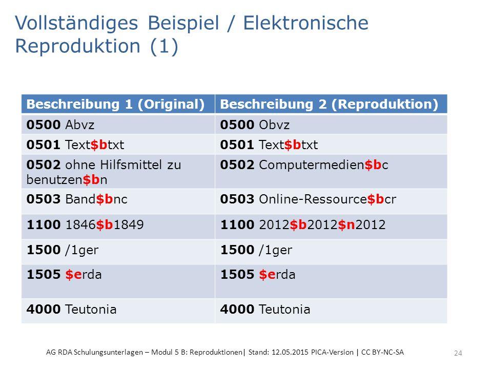 Vollständiges Beispiel / Elektronische Reproduktion (1) 24 Beschreibung 1 (Original)Beschreibung 2 (Reproduktion) 0500 Abvz0500 Obvz 0501 Text$btxt 05