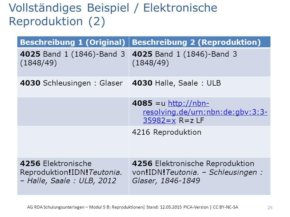 Vollständiges Beispiel / Elektronische Reproduktion (2) 25 Beschreibung 1 (Original)Beschreibung 2 (Reproduktion) 4025 Band 1 (1846)-Band 3 (1848/49)