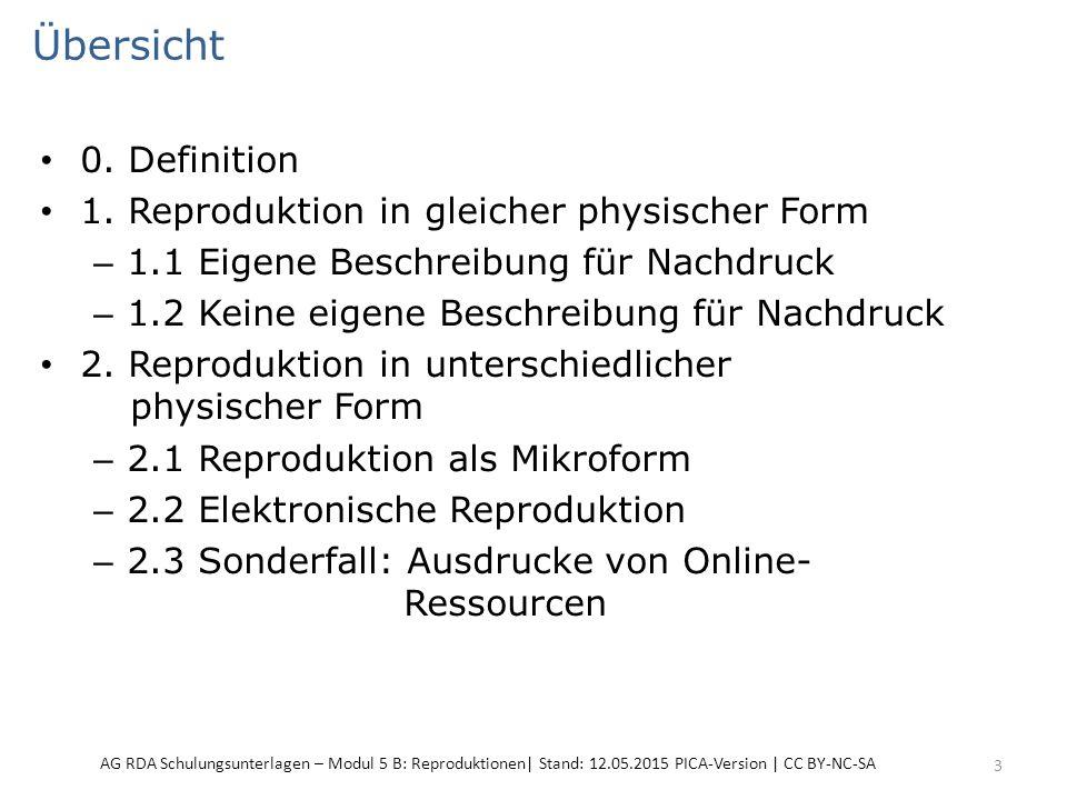 Übersicht 0. Definition 1. Reproduktion in gleicher physischer Form – 1.1 Eigene Beschreibung für Nachdruck – 1.2 Keine eigene Beschreibung für Nachdr