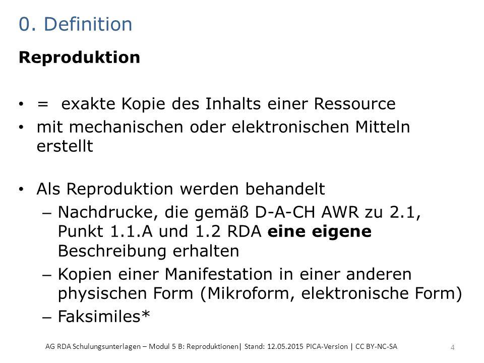 0. Definition Reproduktion = exakte Kopie des Inhalts einer Ressource mit mechanischen oder elektronischen Mitteln erstellt Als Reproduktion werden be