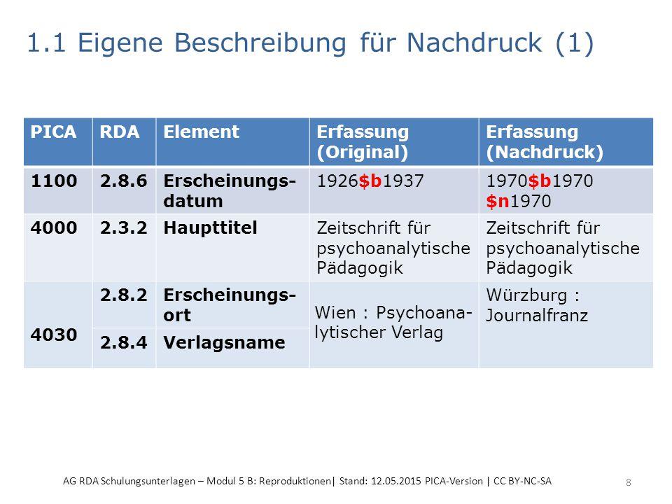 1.1 Eigene Beschreibung für Nachdruck (1) 8 PICARDAElementErfassung (Original) Erfassung (Nachdruck) 11002.8.6Erscheinungs- datum 1926$b1937 1970$b1970 $n1970 40002.3.2HaupttitelZeitschrift für psychoanalytische Pädagogik 4030 2.8.2Erscheinungs- ort Wien : Psychoana- lytischer Verlag Würzburg : Journalfranz 2.8.4Verlagsname AG RDA Schulungsunterlagen – Modul 5 B: Reproduktionen| Stand: 12.05.2015 PICA-Version | CC BY-NC-SA