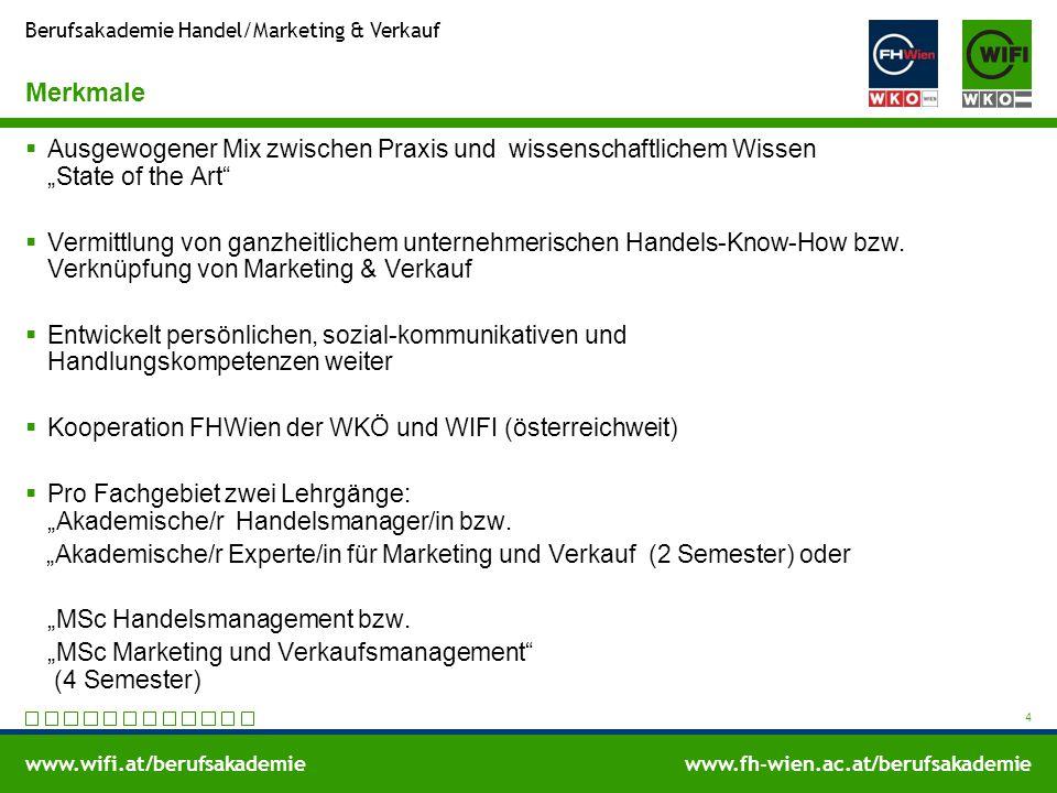 www.wifi.at/berufsakademiewww.fh-wien.ac.at/berufsakademie Berufsakademie Handel/Marketing & Verkauf Merkmale  Ausgewogener Mix zwischen Praxis und w