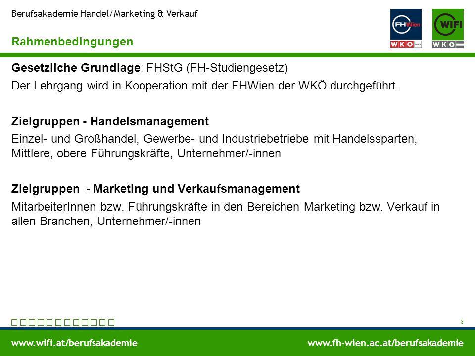 www.wifi.at/berufsakademiewww.fh-wien.ac.at/berufsakademie Berufsakademie Handel/Marketing & Verkauf Rahmenbedingungen Gesetzliche Grundlage: FHStG (F
