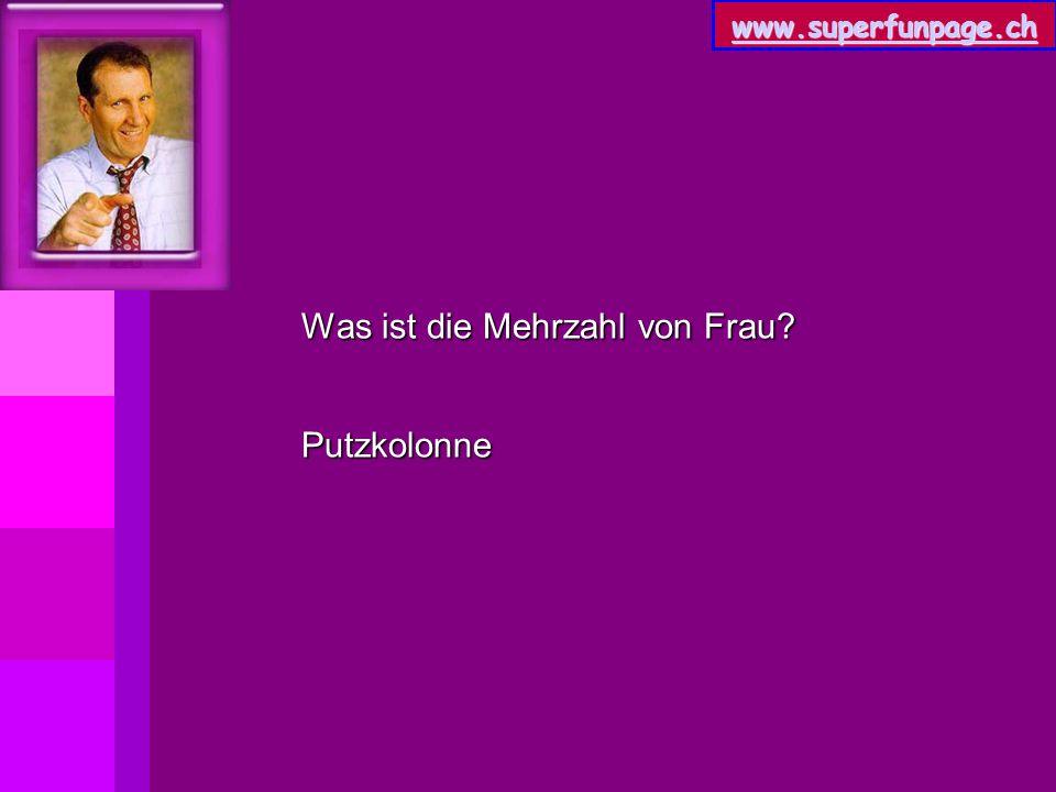www.superfunpage.ch Was ist die Mehrzahl von Frau? Putzkolonne
