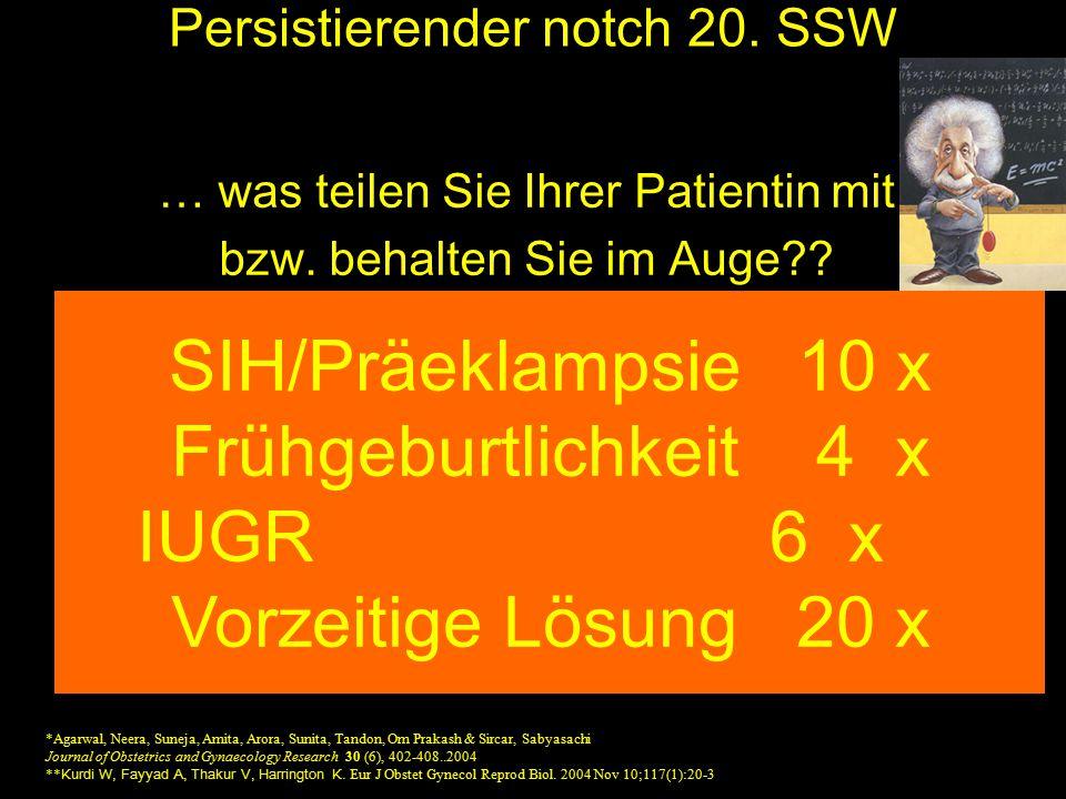 Persistierender notch 20. SSW … was teilen Sie Ihrer Patientin mit bzw. behalten Sie im Auge?? Risiko SIH / Präeklampsie ca. 30 % Frühgeburtsrisiko si