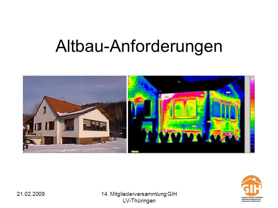 21.02.200914. Mitgliederversammlung GIH LV-Thüringen Altbau-Anforderungen