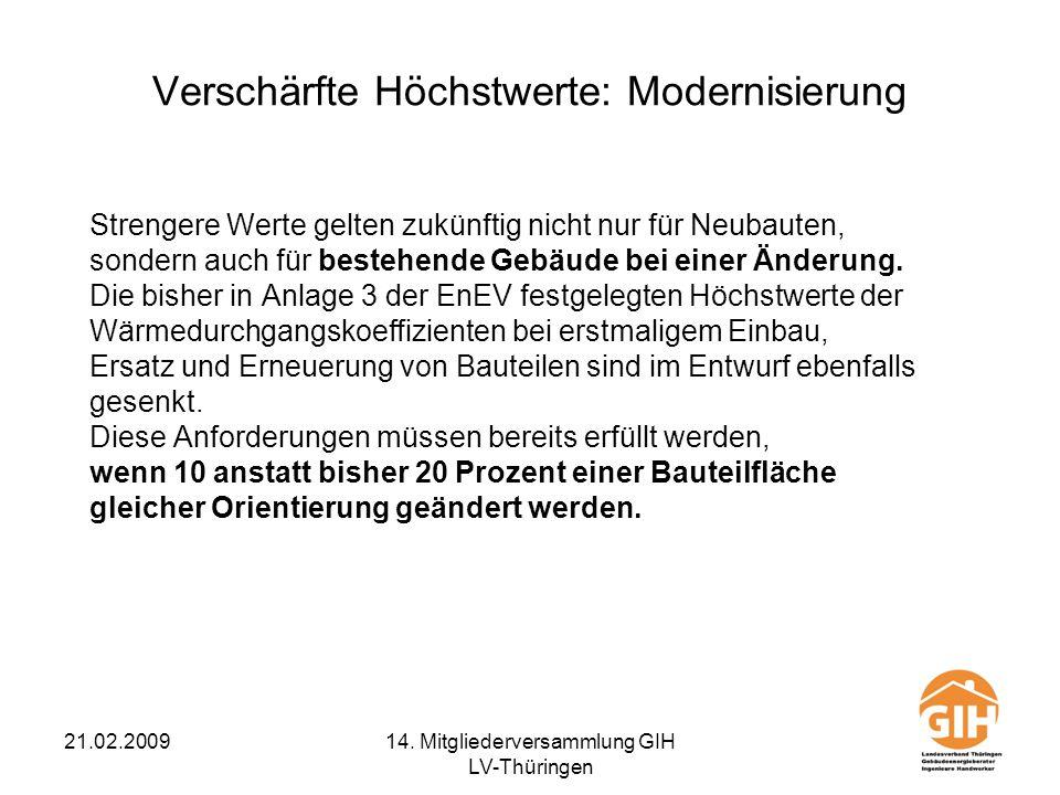 21.02.200914. Mitgliederversammlung GIH LV-Thüringen Verschärfte Höchstwerte: Modernisierung Strengere Werte gelten zukünftig nicht nur für Neubauten,