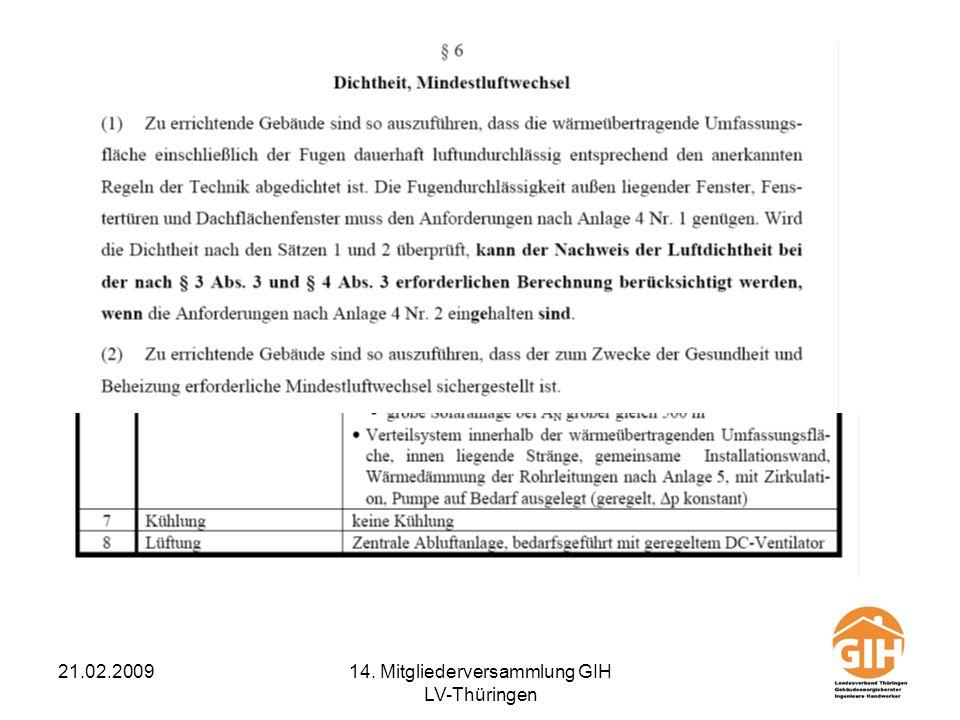 21.02.200914. Mitgliederversammlung GIH LV-Thüringen