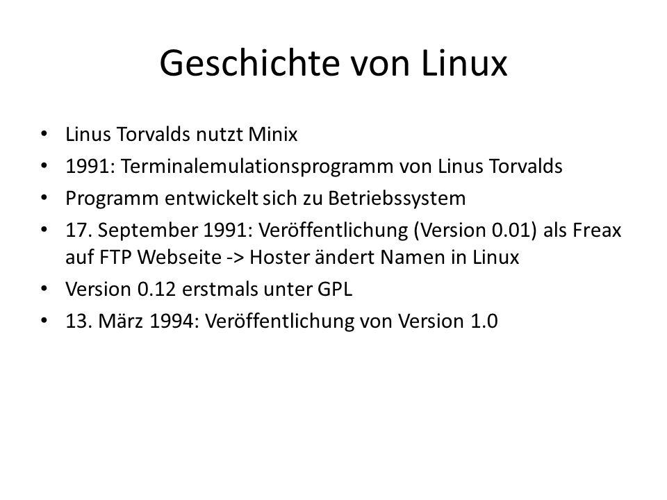 Geschichte von Linux Linus Torvalds nutzt Minix 1991: Terminalemulationsprogramm von Linus Torvalds Programm entwickelt sich zu Betriebssystem 17. Sep