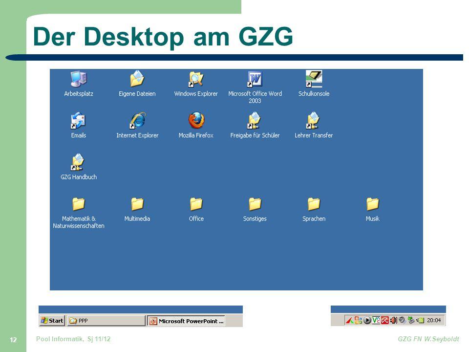 Pool Informatik, Sj 11/12GZG FN W.Seyboldt 12 Der Desktop am GZG