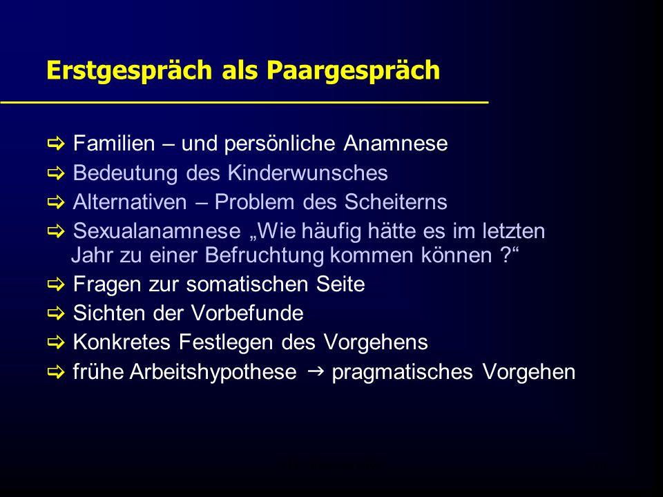 FIS - Pissouri 200810 Erstgespräch als Paargespräch  Familien – und persönliche Anamnese  Bedeutung des Kinderwunsches  Alternativen – Problem des