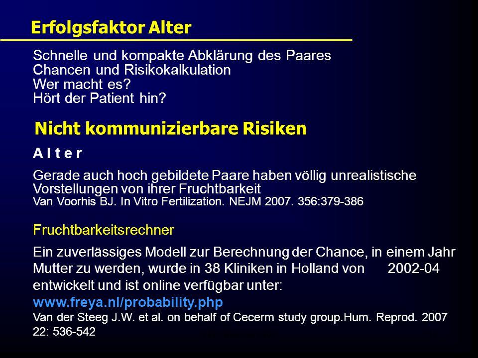 FIS - Pissouri 200811 Erfolgsfaktor Alter Schnelle und kompakte Abklärung des Paares Chancen und Risikokalkulation Wer macht es? Hört der Patient hin?