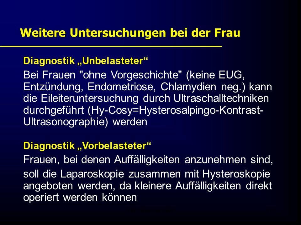 """FIS - Pissouri 200817 Weitere Untersuchungen bei der Frau Diagnostik """"Unbelasteter Bei Frauen ohne Vorgeschichte (keine EUG, Entzündung, Endometriose, Chlamydien neg.) kann die Eileiteruntersuchung durch Ultraschalltechniken durchgeführt (Hy-Cosy=Hysterosalpingo-Kontrast- Ultrasonographie) werden Diagnostik """"Vorbelasteter Frauen, bei denen Auffälligkeiten anzunehmen sind, soll die Laparoskopie zusammen mit Hysteroskopie angeboten werden, da kleinere Auffälligkeiten direkt operiert werden können"""