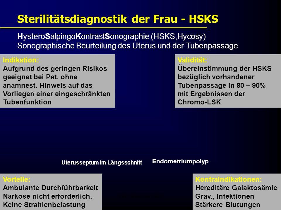 FIS - Pissouri 200819 HysteroSalpingoKontrastSonographie (HSKS,Hycosy) Sonographische Beurteilung des Uterus und der Tubenpassage Sterilitätsdiagnostik der Frau - HSKS Vorteile: Ambulante Durchführbarkeit Narkose nicht erforderlich.