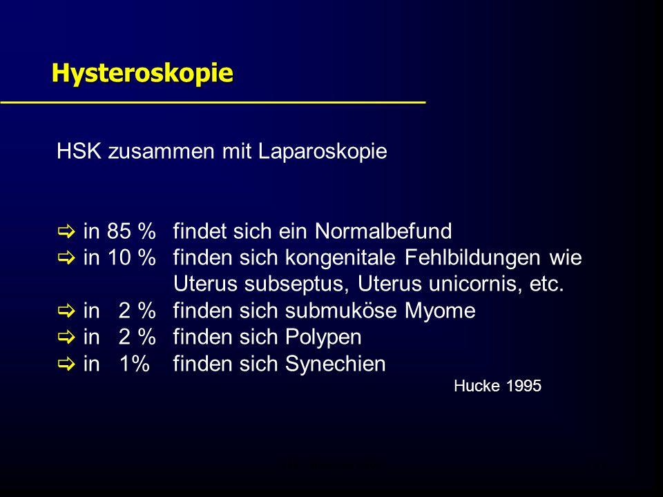 FIS - Pissouri 200821 Hysteroskopie HSK zusammen mit Laparoskopie  in 85 % findet sich ein Normalbefund  in 10 % finden sich kongenitale Fehlbildungen wie Uterus subseptus, Uterus unicornis, etc.