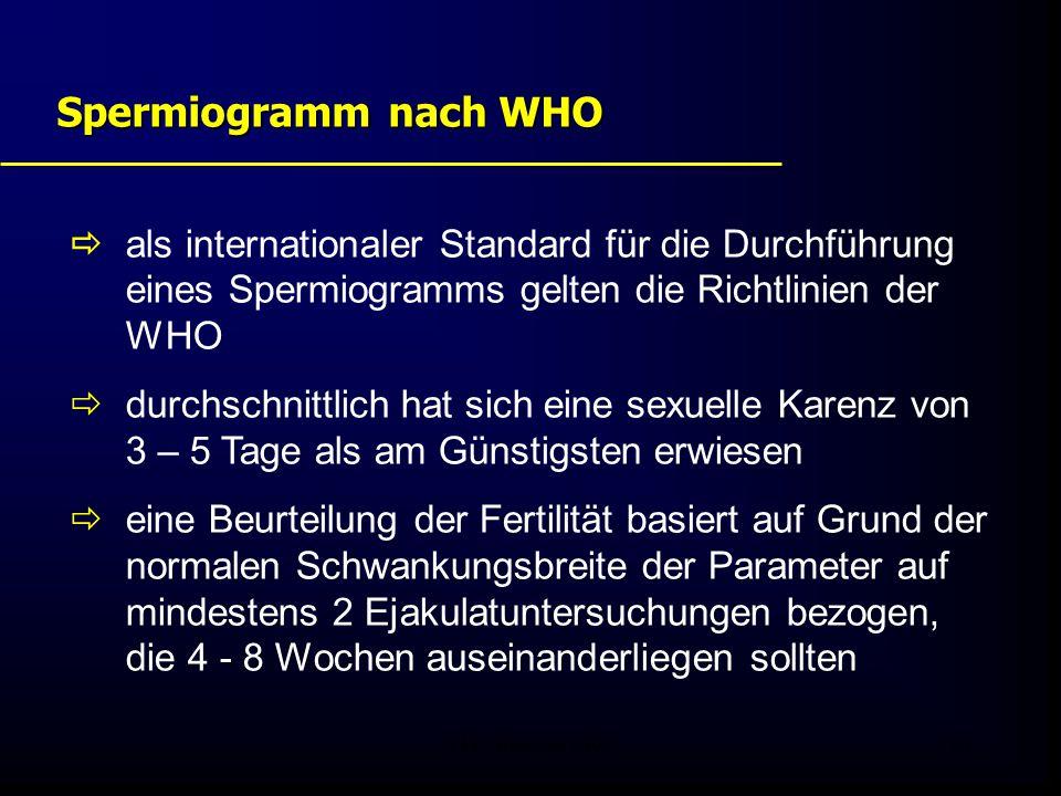 FIS - Pissouri 200824 Spermiogramm nach WHO  als internationaler Standard für die Durchführung eines Spermiogramms gelten die Richtlinien der WHO  durchschnittlich hat sich eine sexuelle Karenz von 3 – 5 Tage als am Günstigsten erwiesen  eine Beurteilung der Fertilität basiert auf Grund der normalen Schwankungsbreite der Parameter auf mindestens 2 Ejakulatuntersuchungen bezogen, die 4 - 8 Wochen auseinanderliegen sollten
