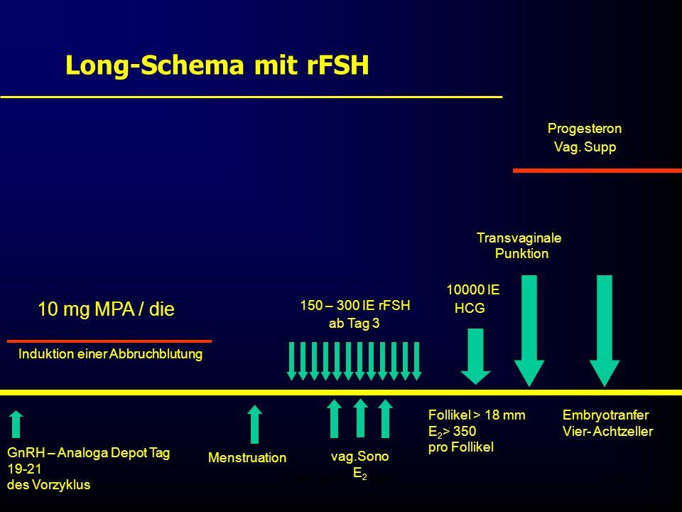 FIS - Pissouri 200838 Long-Schema mit rFSH GnRH – Analoga Depot Tag 19-21 des Vorzyklus 10 mg MPA / die Menstruation 150 – 300 IE rFSH ab Tag 3 vag.Sono E 2 Follikel > 18 mm E 2 > 350 pro Follikel 10000 IE HCG Transvaginale Punktion Embryotranfer Vier- Achtzeller Progesteron Vag.