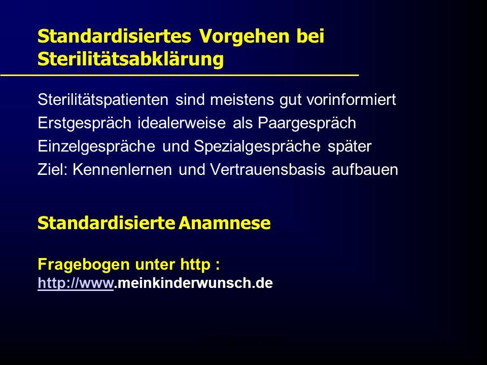 FIS - Pissouri 20089 Standardisiertes Vorgehen bei Sterilitätsabklärung Sterilitätspatienten sind meistens gut vorinformiert Erstgespräch idealerweise als Paargespräch Einzelgespräche und Spezialgespräche später Ziel: Kennenlernen und Vertrauensbasis aufbauen Standardisierte Anamnese Fragebogen unter http : http://www.meinkinderwunsch.de http://www