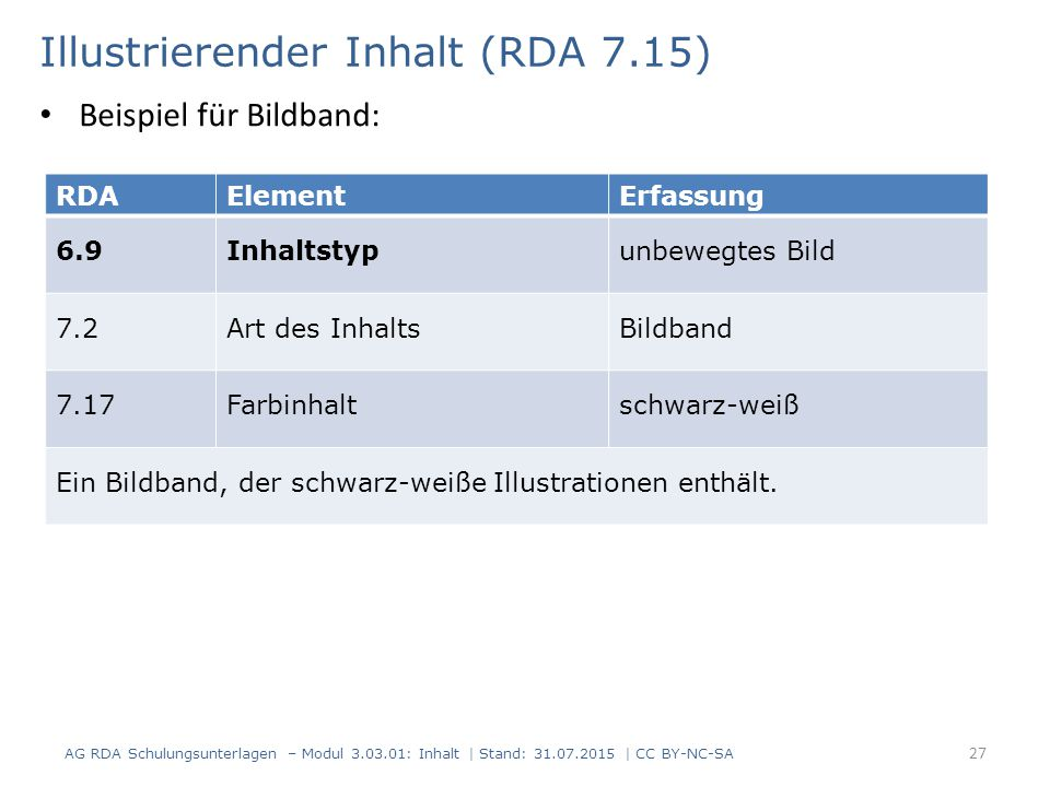 Illustrierender Inhalt (RDA 7.15) RDAElementErfassung 6.9Inhaltstypunbewegtes Bild 7.2Art des InhaltsBildband 7.17Farbinhaltschwarz-weiß Ein Bildband, der schwarz-weiße Illustrationen enthält.