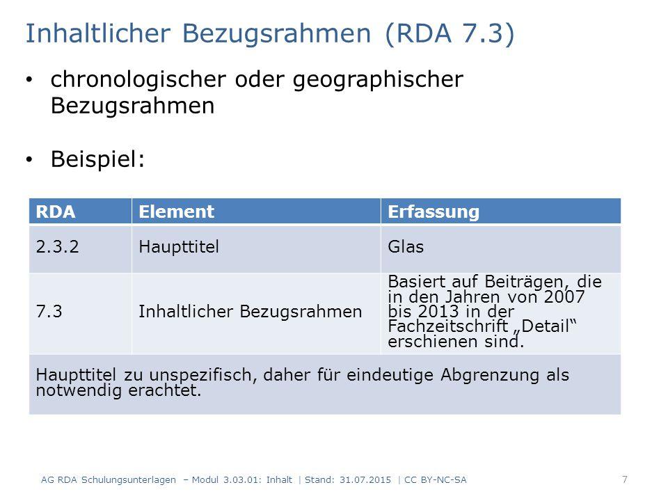 """RDAElementErfassung 2.3.2HaupttitelGlas 7.3Inhaltlicher Bezugsrahmen Basiert auf Beiträgen, die in den Jahren von 2007 bis 2013 in der Fachzeitschrift """"Detail erschienen sind."""