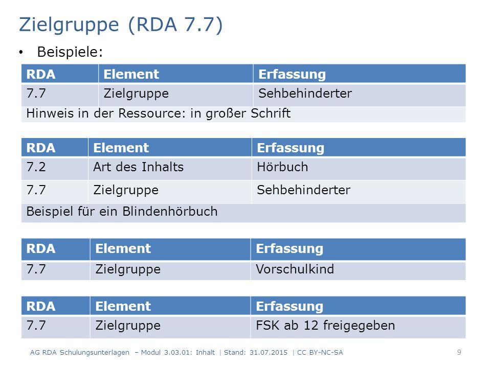 Zielgruppe (RDA 7.7) RDAElementErfassung 7.7ZielgruppeSehbehinderter Hinweis in der Ressource: in großer Schrift RDAElementErfassung 7.7ZielgruppeFSK ab 12 freigegeben Beispiele: RDAElementErfassung 7.7ZielgruppeVorschulkind RDAElementErfassung 7.2Art des InhaltsHörbuch 7.7ZielgruppeSehbehinderter Beispiel für ein Blindenhörbuch AG RDA Schulungsunterlagen – Modul 3.03.01: Inhalt | Stand: 31.07.2015 | CC BY-NC-SA 9