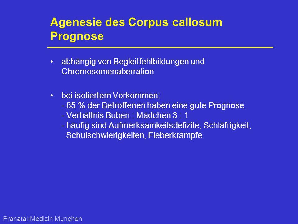 Agenesie des Corpus callosum Prognose abhängig von Begleitfehlbildungen und Chromosomenaberration bei isoliertem Vorkommen: - 85 % der Betroffenen hab