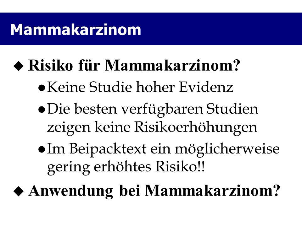 Mammakarzinom  Risiko für Mammakarzinom? Keine Studie hoher Evidenz Die besten verfügbaren Studien zeigen keine Risikoerhöhungen Im Beipacktext ein m
