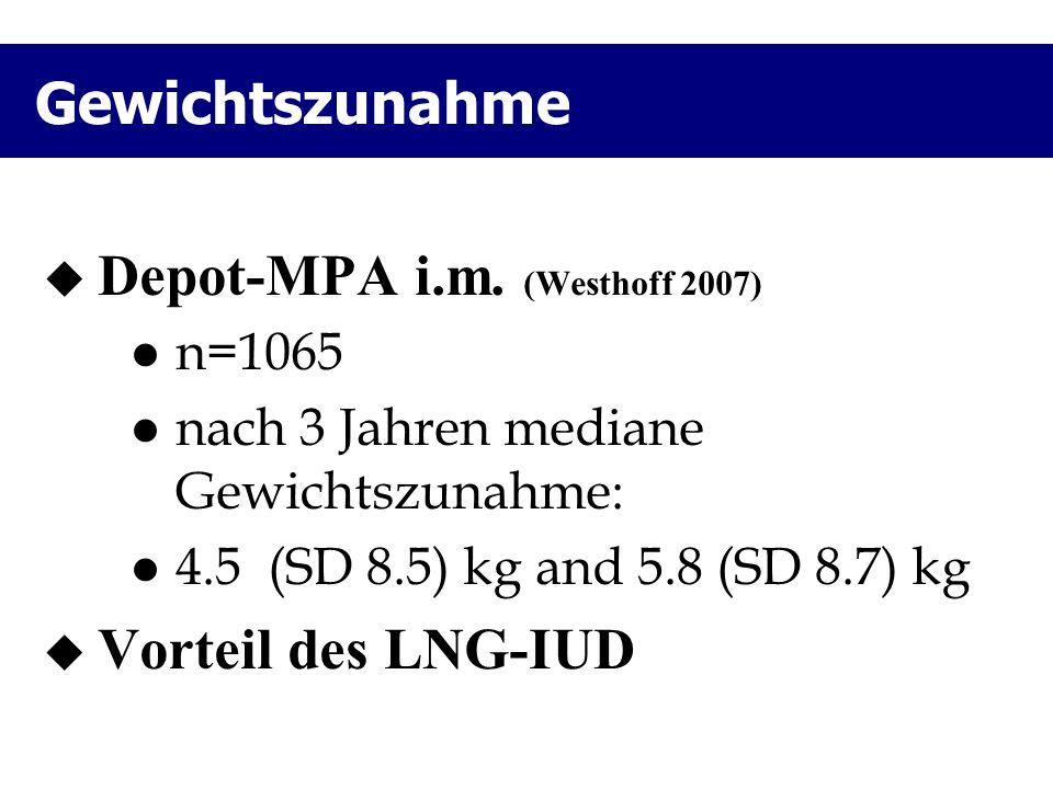 Gewichtszunahme  Depot-MPA i.m. (Westhoff 2007) n=1065 nach 3 Jahren mediane Gewichtszunahme: 4.5 (SD 8.5) kg and 5.8 (SD 8.7) kg  Vorteil des LNG-I