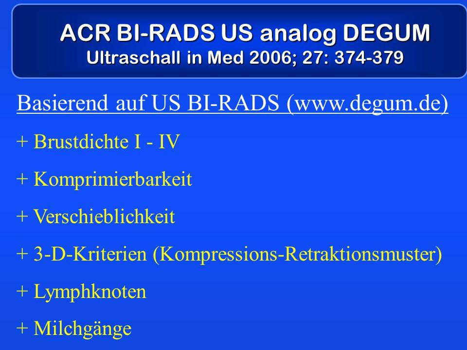 ACR BI-RADS US analog DEGUM Ultraschall in Med 2006; 27: 374-379 Basierend auf US BI-RADS (www.degum.de) + Brustdichte I - IV + Komprimierbarkeit + Ve