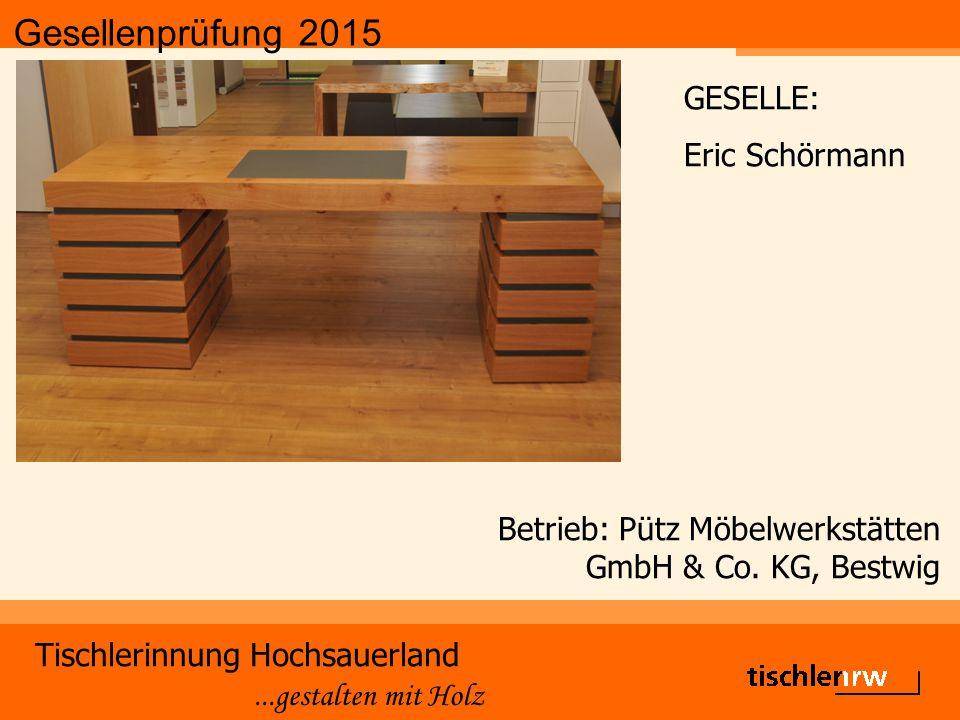 Gesellenprüfung 2015 Tischlerinnung Hochsauerland...gestalten mit Holz Betrieb: Pütz Möbelwerkstätten GmbH & Co. KG, Bestwig GESELLE: Eric Schörmann