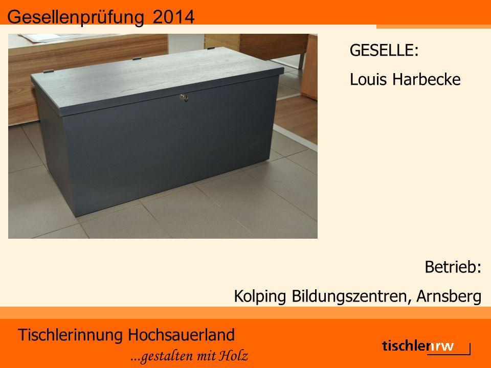 Gesellenprüfung 2014 Tischlerinnung Hochsauerland...gestalten mit Holz Betrieb: Kolping Bildungszentren, Arnsberg GESELLE: Louis Harbecke