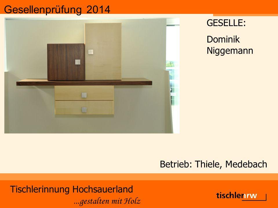 Gesellenprüfung 2014 Tischlerinnung Hochsauerland...gestalten mit Holz Betrieb: Thiele, Medebach GESELLE: Dominik Niggemann